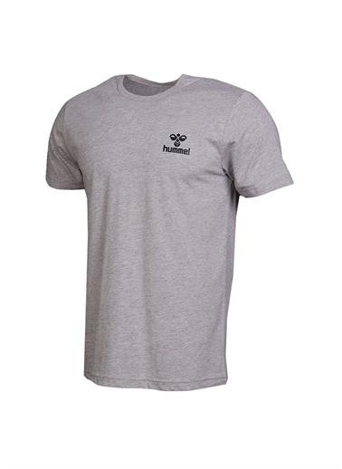 Hummel Hummel Erkek Gri Bisiklet Yaka T-Shirt Gri